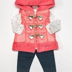 Little Lass Baby Girl 3pc Heart Vest Set 12m